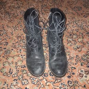 Black Ugg Leather Boots- Oriana Lace Up Boots